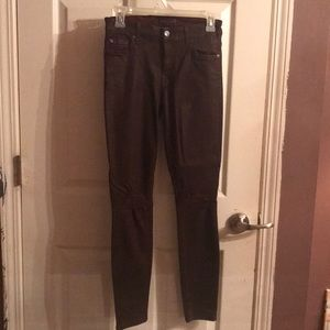 7ForAllMankind burgundy coated skinny jeans 27 New
